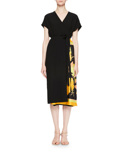 Defix Short-Sleeve Wrap Dress w/ Foulard Side Scarf Detail
