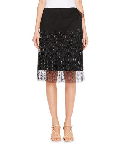 Sagix Beaded Mesh Overlay Skirt