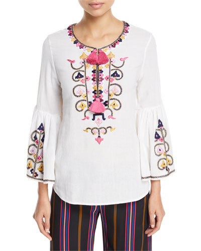 Britt Embroidered Voile Top