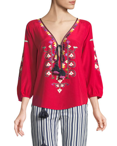 Lulu Embroidered Silk Top with Tassel Ties