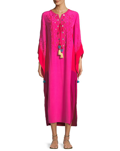 Nala Colorblocked Silk Dress with Tonal Embroidery