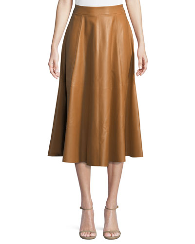 Christine Flared Lamb Leather Skirt