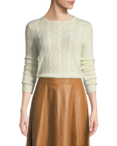 Crewneck Long-Sleeve Cashmere Cable-Knit Sweater