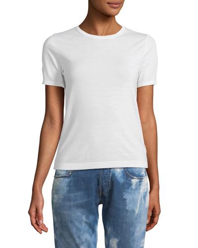 Crewneck Short-Sleeve Lightweight Cashmere Top
