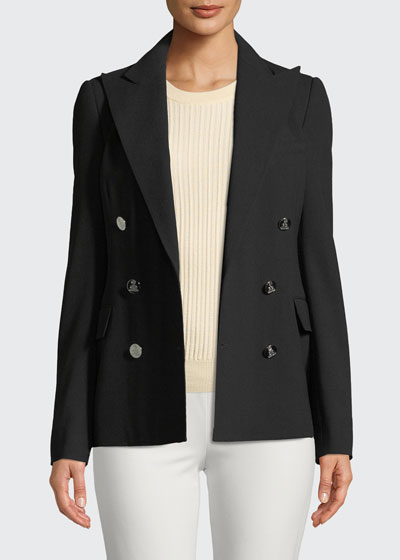 Camden Double-Breasted Stretch-Wool Jacket
