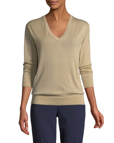 V-Neck Long-Sleeve Cashmere Jersey Sweater