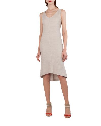 Sleeveless Stretch-Pique Godet Dress