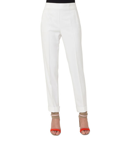 Cuffed Straight-Leg Crepe Pants