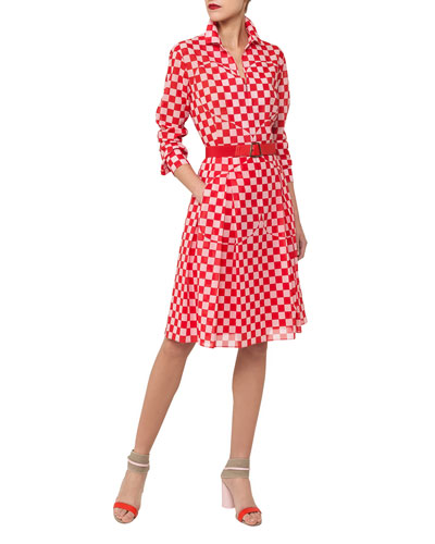 Long-Sleeve Checker-Print Cotton Voile Shirtdress w/ Leather Belt