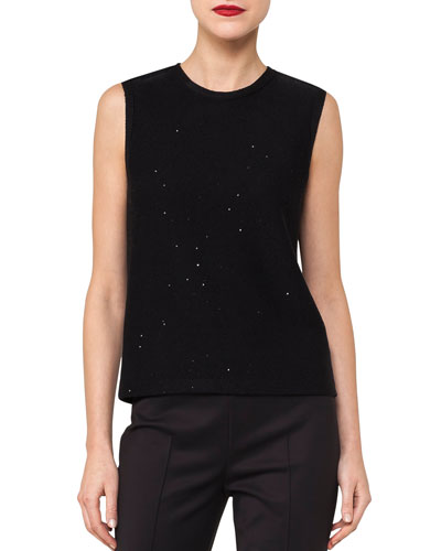 Crewneck Sleeveless Knit Top with Sequins