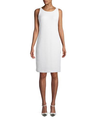 Sleeveless Basketweave Sheath Dress