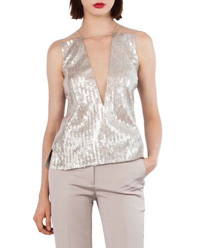 Sequined Tulle V-Neck Top