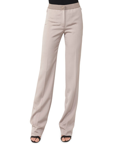 Silk Crepe Stretch-Front Pants