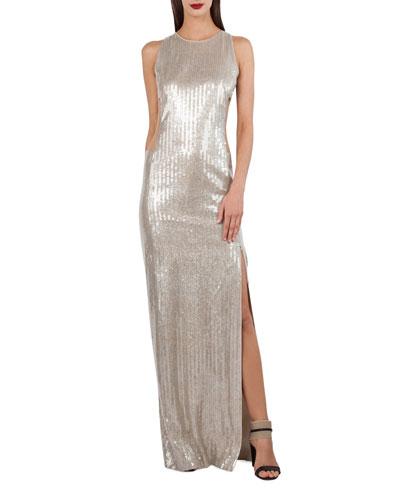 Sleeveless Sequined V-Back Gown