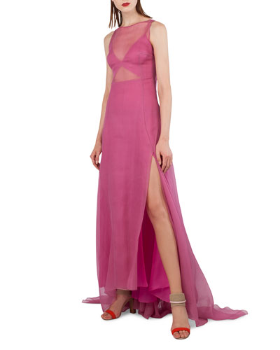 Sleeveless Organza Gown w/Back Pleats