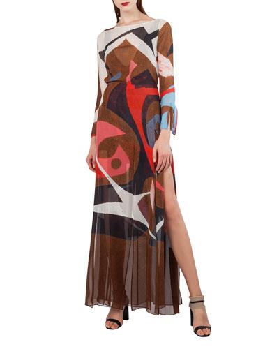 Masonite-Print Silk Crepe Gown