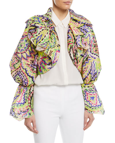 Brushstroke Organza Cropped Jacket
