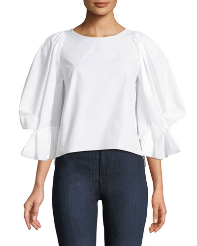 Round-Neck Balloon-Sleeve Cotton Poplin Top