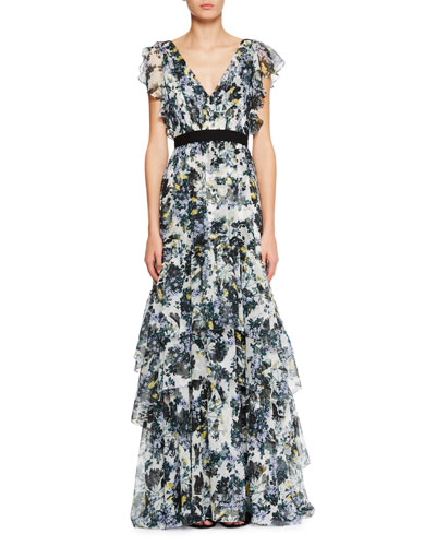 Perry Ruffled Floral Silk Gown