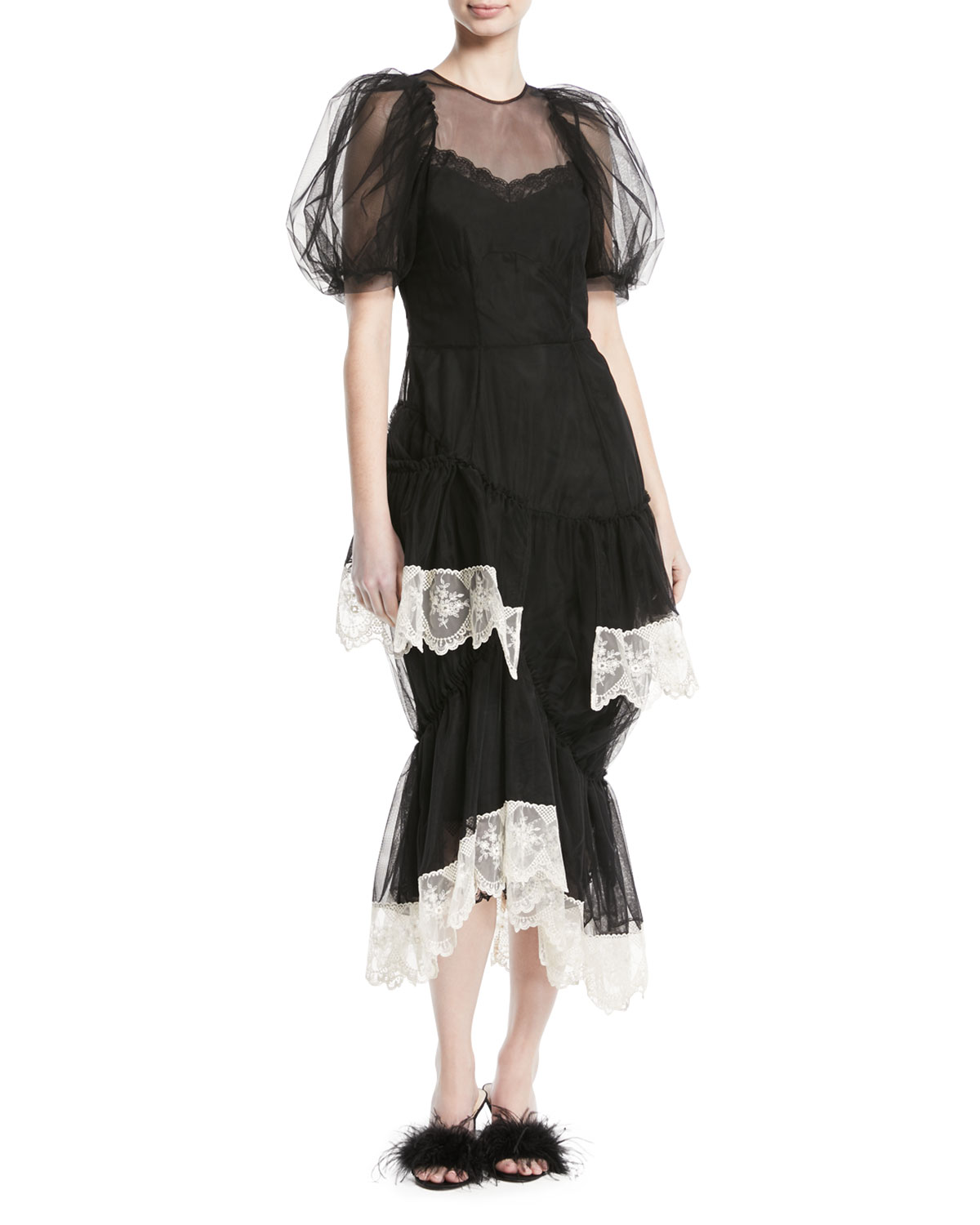 Puff-Sleeve Tulle Dress with Lace Trim