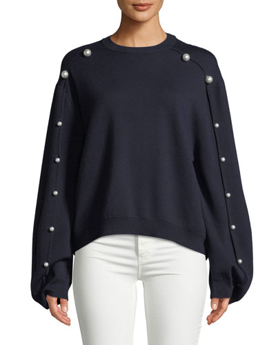 CREWNECK DOUBLE-FACE MERINO WOOL SWEATER WITH PEARLESCENT TRIM