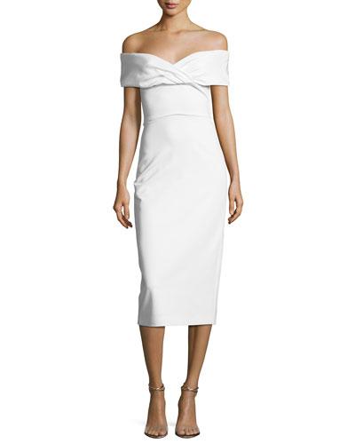 Twisted Off-Shoulder Midi Dress