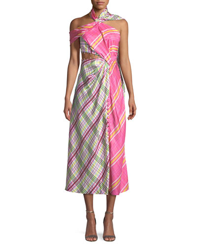 Asymmetric Plaid Combo Wrap Silk Dress w/ Attached Scarf