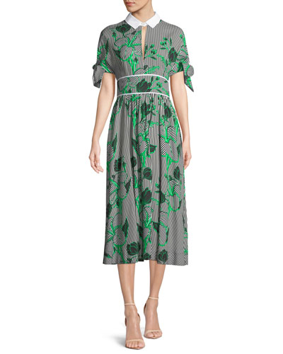 Striped Tie-Sleeve Shirtdress in Floral Print