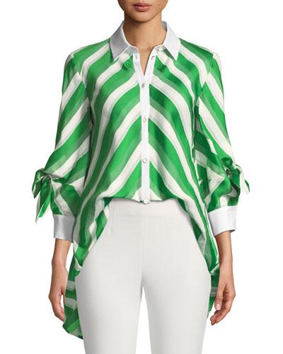 Bow-Sleeve Striped Satin High-Low Shirt