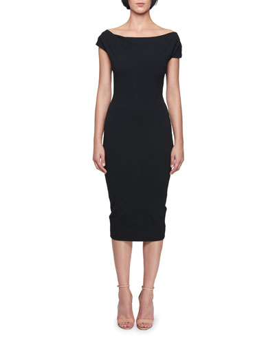Off-the-Shoulder Knee-Length Jersey Sheath Dress
