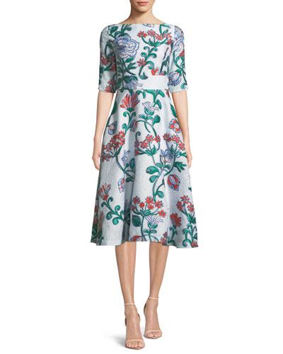Floral Matelasse Elbow-Sleeve Dress