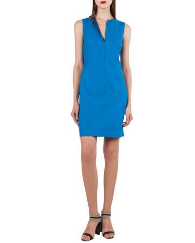 Zip-Front Sleeveless Bicolor Reversible Sheath Dress
