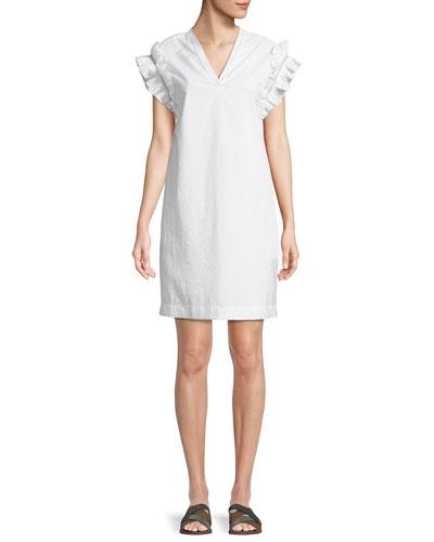V-Neck Ruffle-Sleeve Straight Poplin Dress