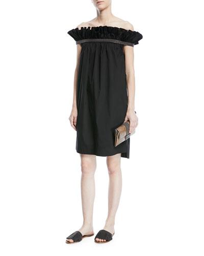 Ruffled Off-Shoulder Monili-Trim Dress