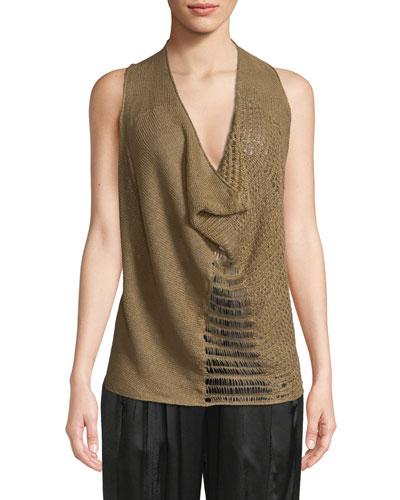 Cowl-Neck Hemp-Linen Knit Tank