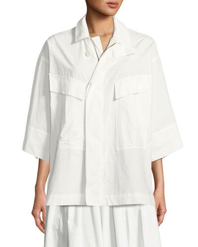 Front-Zip Poplin Utility Shirt