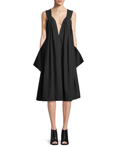Sleeveless V-Neck Balloon Dress