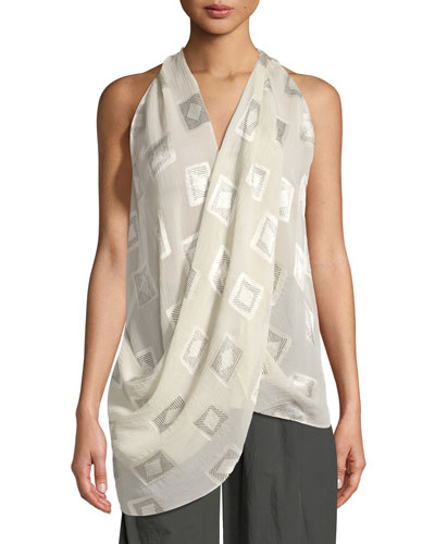 Draped Block-Print Top
