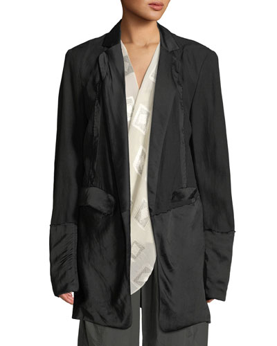 Deconstructed Satin Tuxedo Jacket