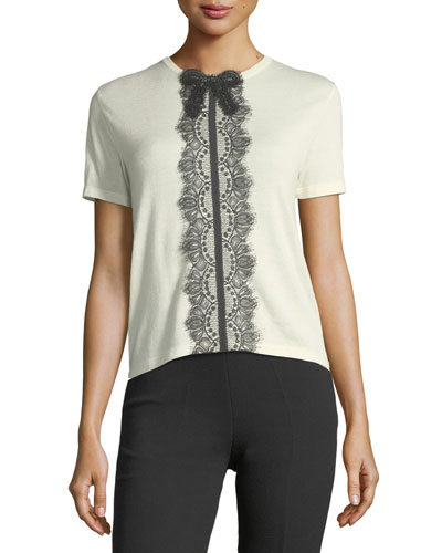 Short-Sleeve Lace-Trim T-Shirt