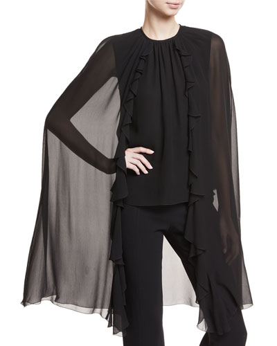 Chiffon Cape Blouse w/Ruffle Trim
