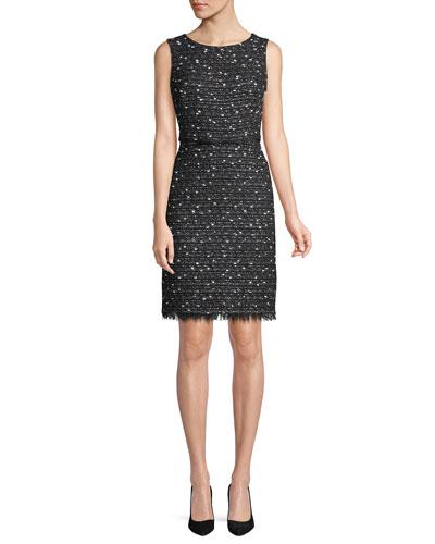 Sleeveless Tweed Sheath Dress