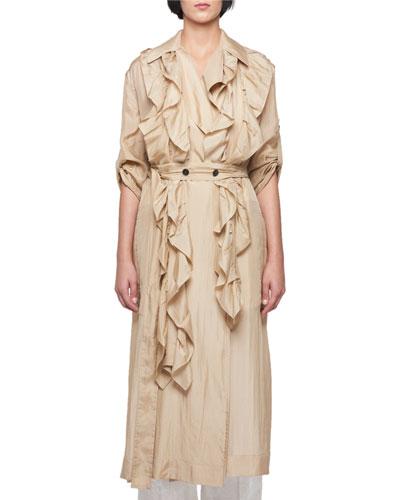 Silk Habutai Belted Long Ruffled Trench Coat