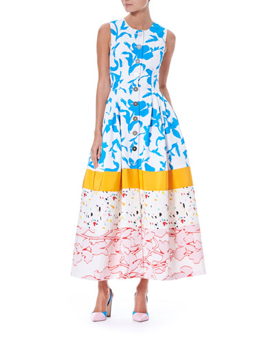 Sleeveless Button-Front Multi-Print Colorblock Long Shirtdress