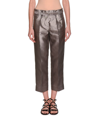 Silk Shantung Wide-Leg Cropped Pants