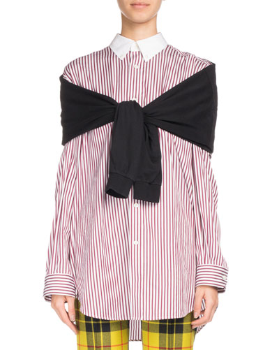 JERSEY AND STRIPED COTTON-POPLIN SHIRT