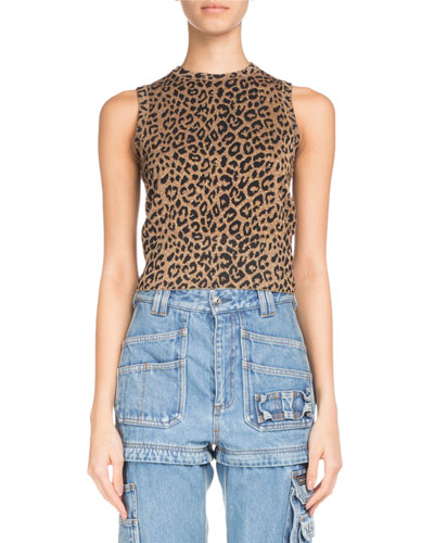 Leopard-Jacquard Sleeveless Knit Top