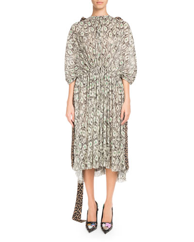 Cinched Kaftan Dress with Cash and Leopard-Print