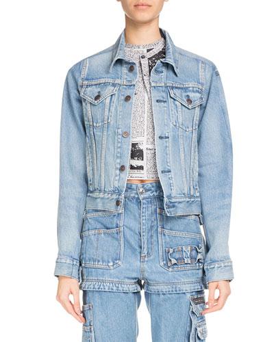 Button-Front Light-Wash Denim Jacket