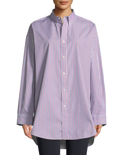 Striped Button-Front Long-Sleeve Shirt